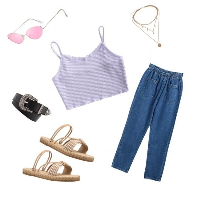cute purple top with the boyfriend jeans, then the pink sunglasses give a retro vibe, the necklace and sandals are kind…