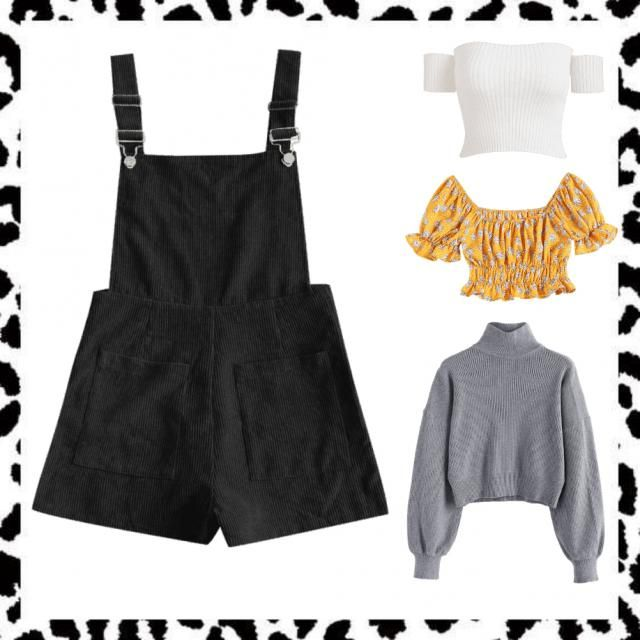 Algunas opciones de blusas para usar el overall negro en diferentes épocas del año (usar con tenis)