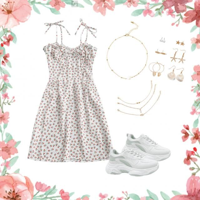 Summer vibe, soft girl, gold jewelry, simplistic.