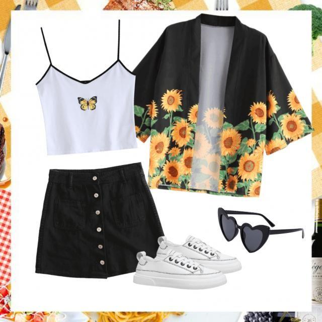 black n white, sunflower, croptop, glasses, skirt.