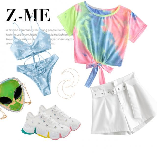Tie-dye mixed with white, cool iridescent bag and gold jewelry.
