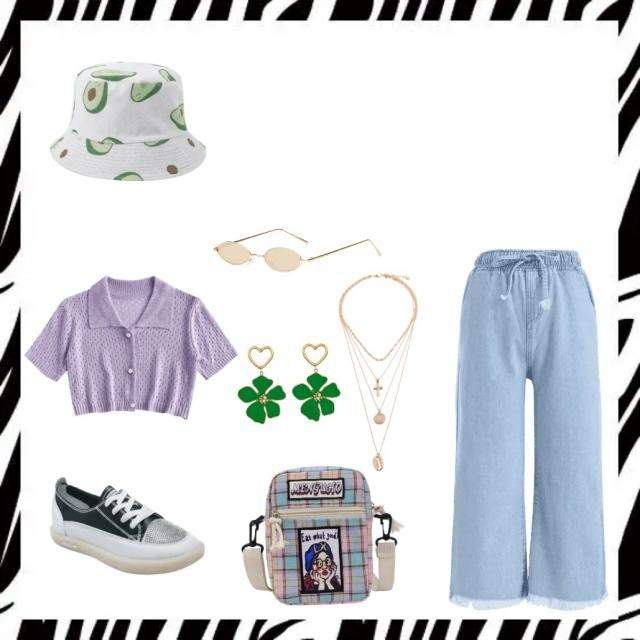 A cool 90s outfit! The hat matches the earing and makes the outfit more eye catching! Perfect for any body shapes:) …