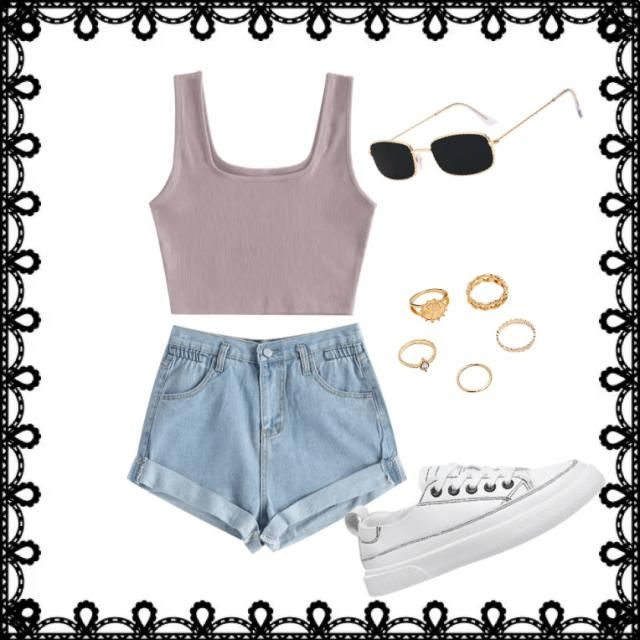 this is a casual outfit that would be great for a sunny day!