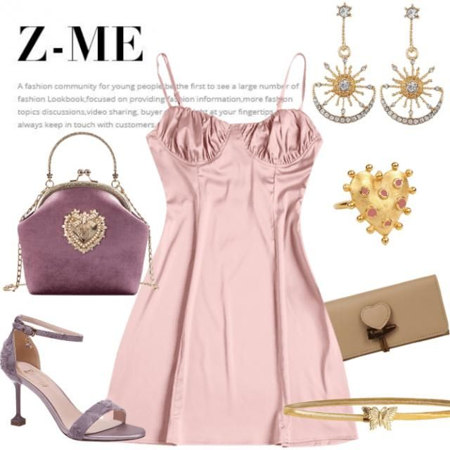 Pink style dress,clutch,earrings,ring,high heels