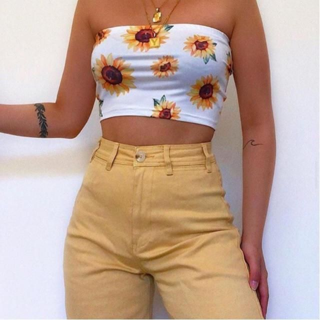 Sunflower ribbed bandeau top is so bright and pretty
