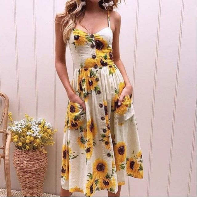 For an easy summer vibes look try a sunflower dress