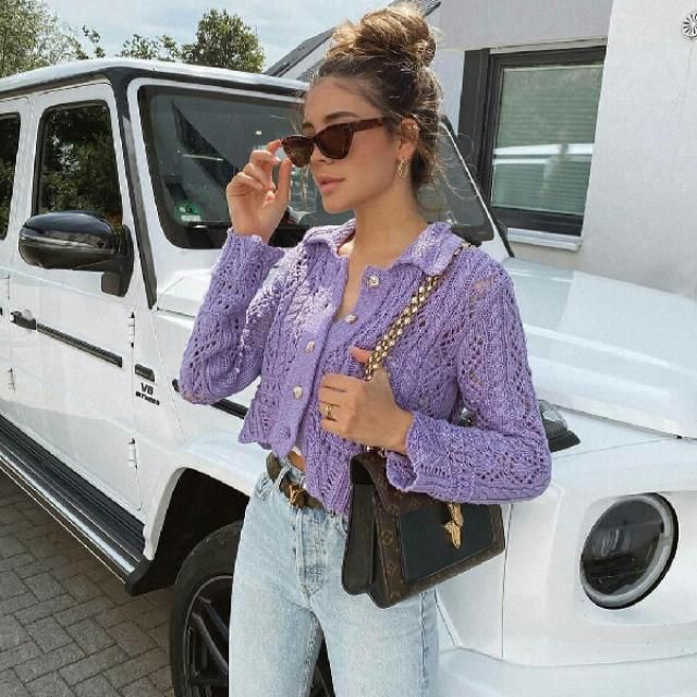 I am in love with this eyelet purple top