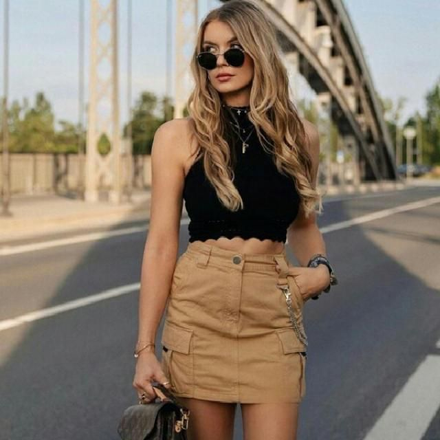 for a fancy casual look try this scalloped tank top and khaki stylish skirt