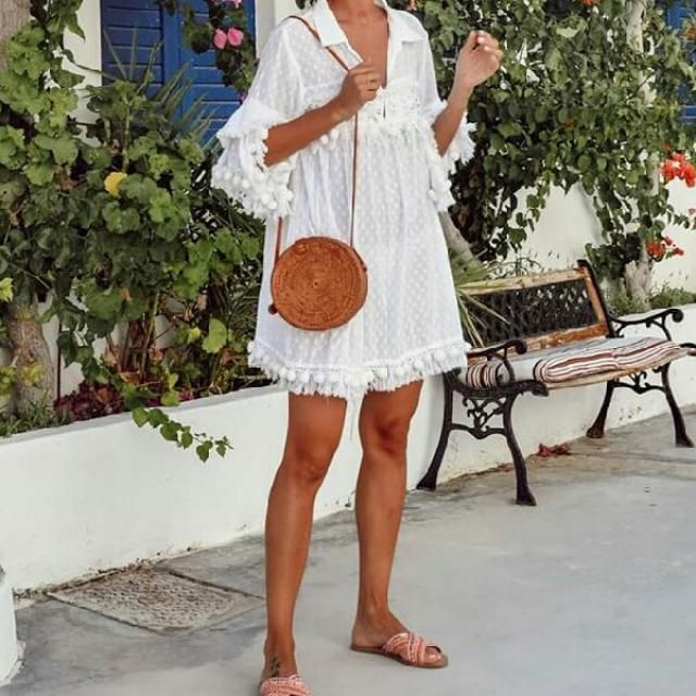 I think every woman&;s wardrobe needs a comfy cute beach dress , am I right?