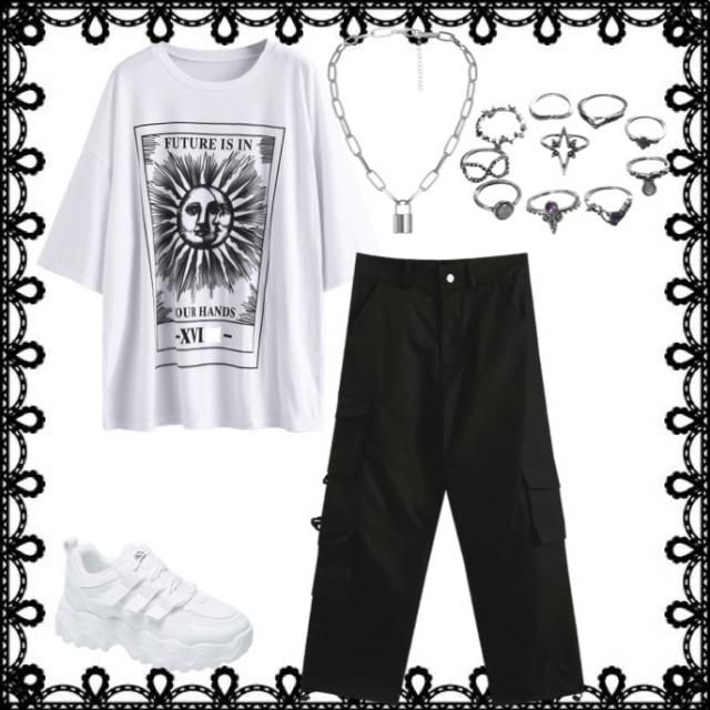 Black and white themed basic outfit but still chic and trendy. Imagine this fit on your tiktok page!🔥