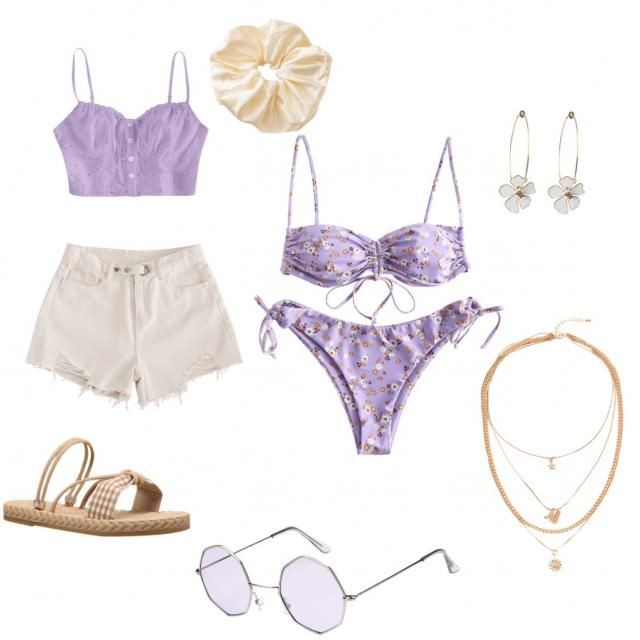 Cute lavender filled day at the beach. Attracting the sun while matching.