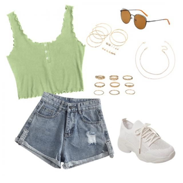 Super casual hot summer outfit, green and orange. 💚