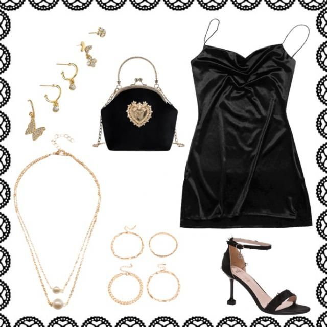 Black and gold rich girl inspired outfit