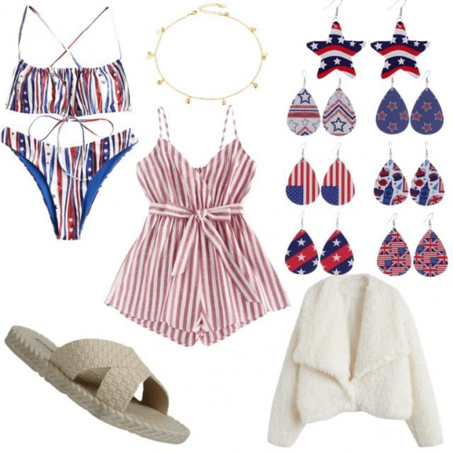 this is an idea for a 4th of July swim party. we start off with a patriotic and stylish swim suit and wo…