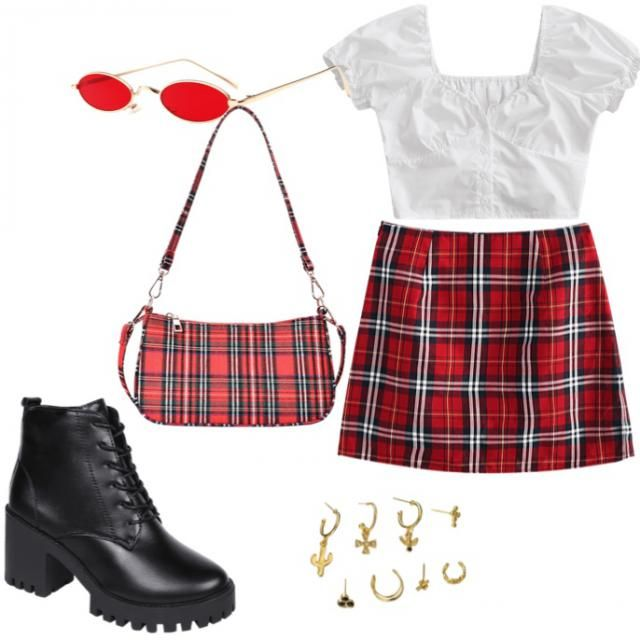 The most adorable red and white plaid! Casual but dressy! This fit is insta worthy🐳