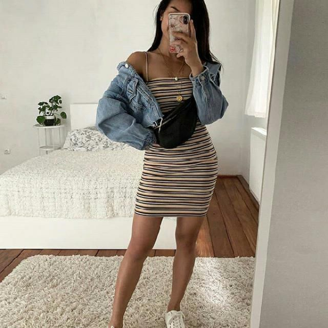 for a chic casual feminine look try a striped dress with casual denim jacket and comfy shoes