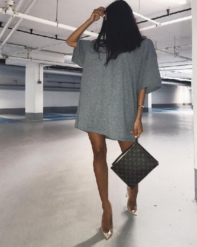 You can wear oversized t-shirt as a dress.  Combine a t-shirt dress with pretty transparent high heels and y…