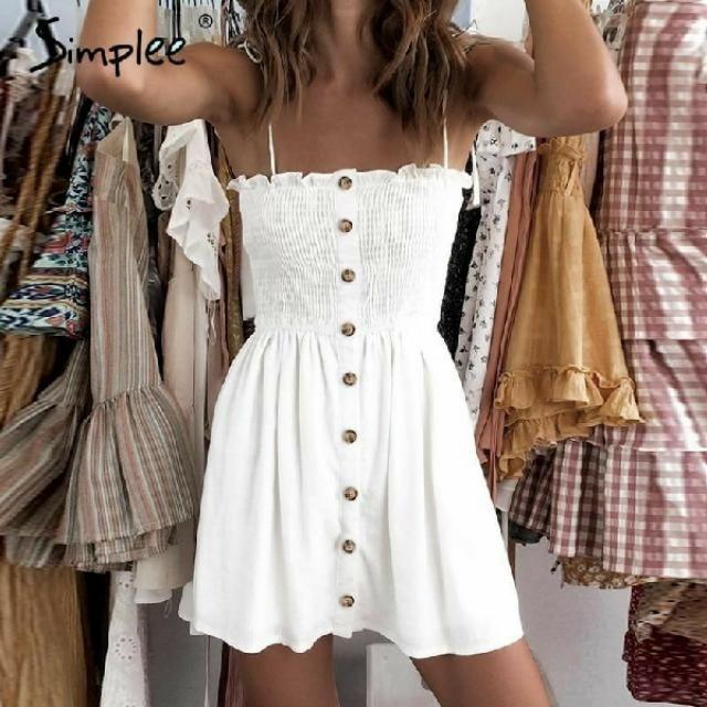casual spaghetti strap Short women dress