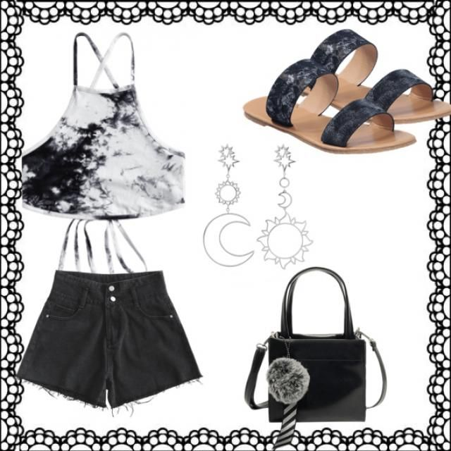 Chic black summer outfit, perfect for relaxing summer days.