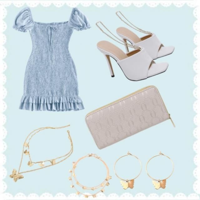 Beautiful blue glam outfit, for enjoying days in the sun.