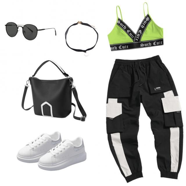 """More of a street-wear look, but still super cute! 😍💚 I'm constantly """"borrowing&quot…"""