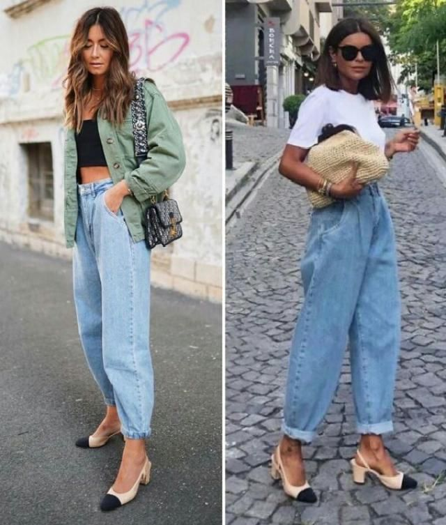 two different ways to wear mom jeans