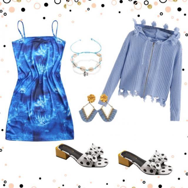 ZAFUL Tie Dye Cami Mini Dress Colour: Blue Size: S