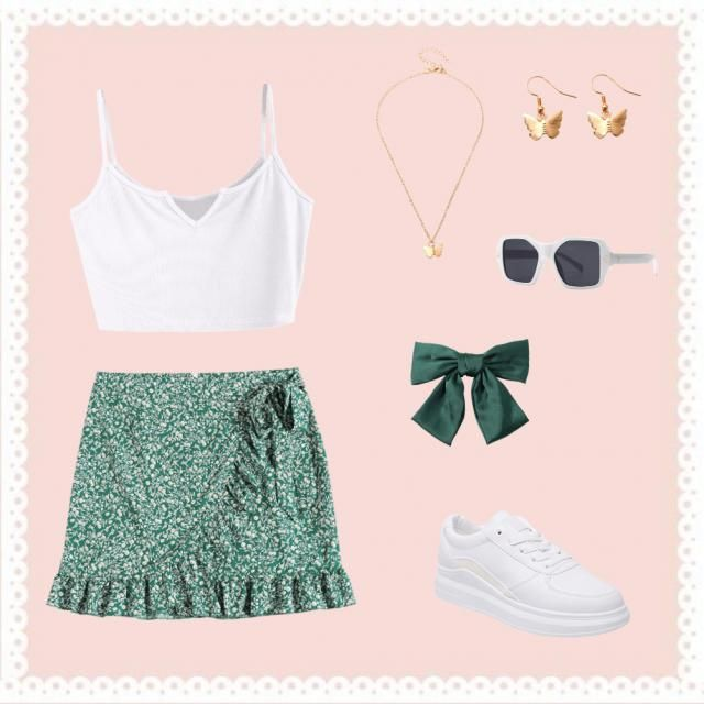 white crop tank top green floral skirt gold butterfly necklace  gold butterfly earrings  white sunglasses  green bow fo…