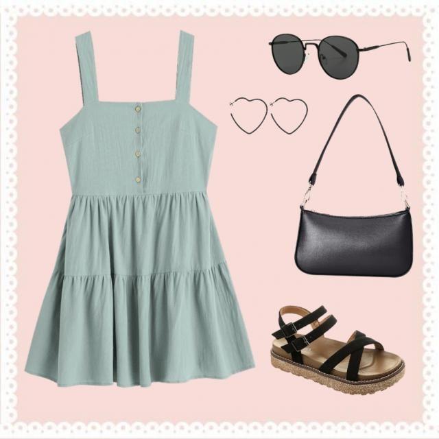 green sundress  black sunglasses  heart hoop earrings  black purse  black and brown sandles