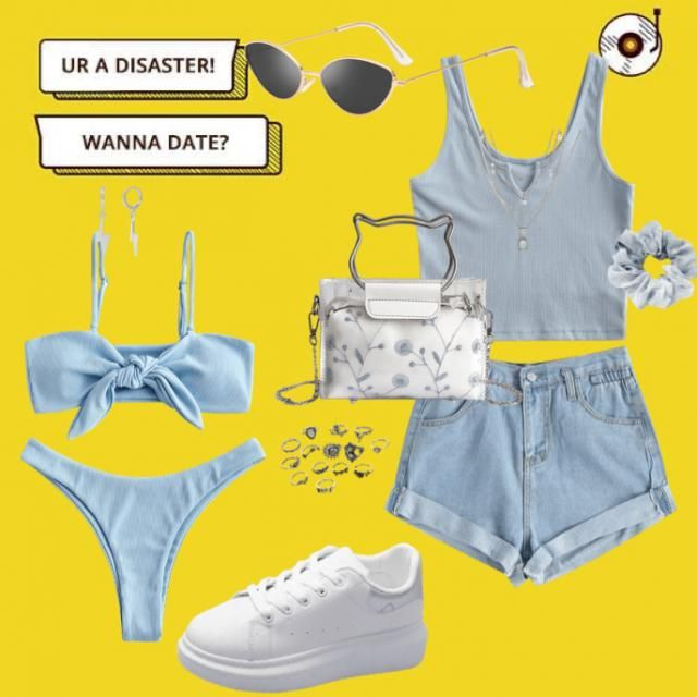 A trendy outfit with a matching bikini for summer fun