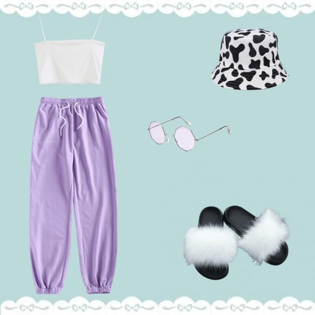 white crop tank  purple sweatpants  cow print bucket hat  purple hexagon glasses  white and black fluffy sandals