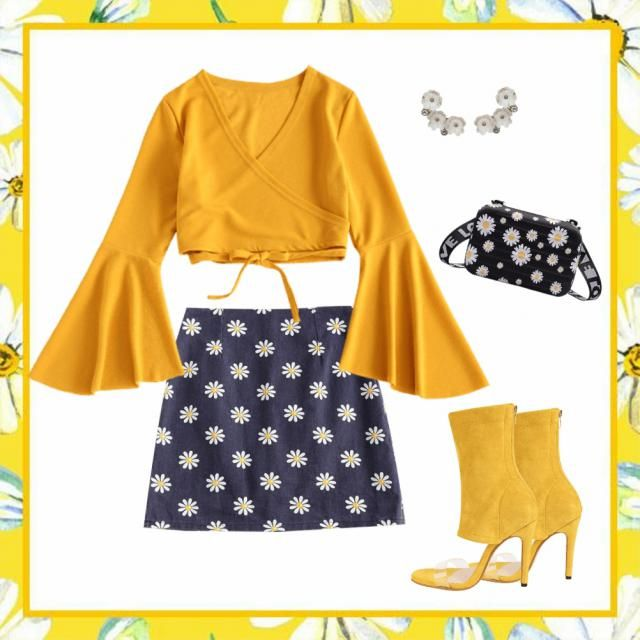 I feel like this look is hippie chic. I love the daisy patterns on the skirt & bag. Th…