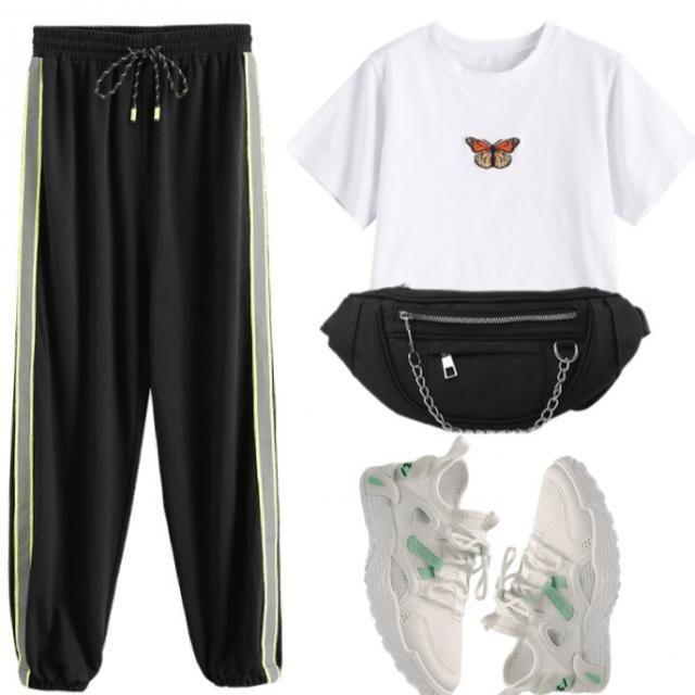 ZAFUL Neon Reflective Side Drawstring Jogger Pants  Size: M Colour: Black