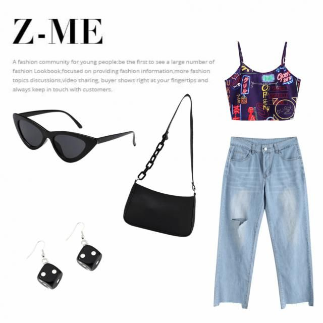 Really cute outfit idea for modern fashion lover. this set have a colorful,modern top and beutiful loose jeans. With so…