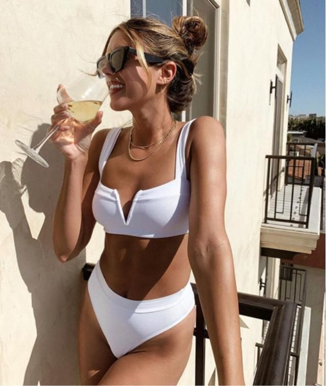 Glass of wine during the day and pool time! What a perfect way to spend summer