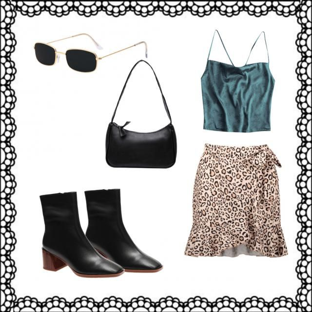 The diversity of this outfit from the satin top to the cheetah printed skirt makes it ICONIC. Paired with simple b…