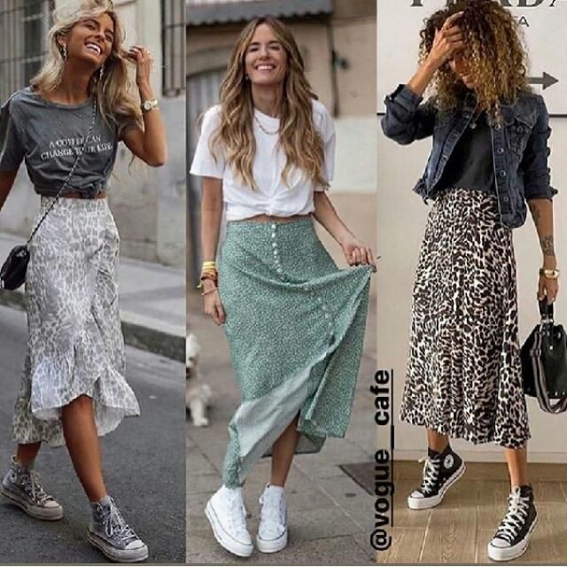 I really like this look the graphic tee with long skirt look so pretty