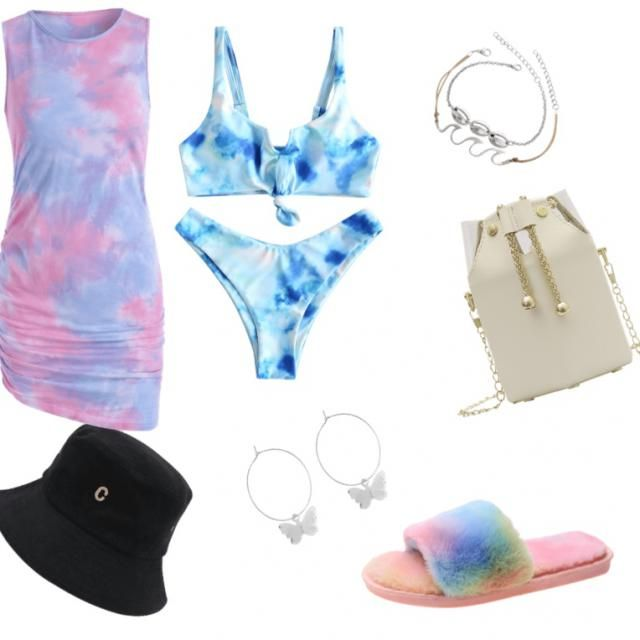 after an early morning walk on the beach you peel off your tie die dress and under it is your tie die bathin…