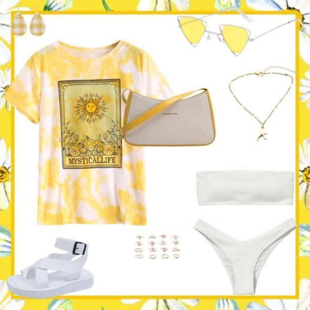 This bathing suit is very popular this year! It goes great with many colours, for example, yellow! Yellow acce…