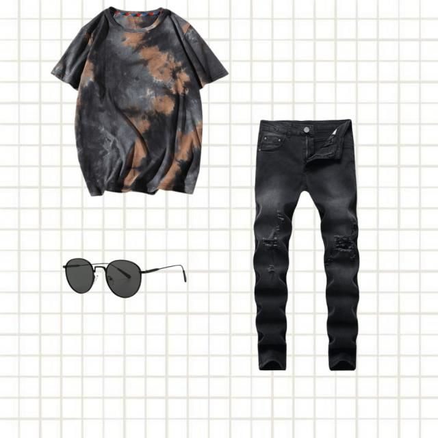 Combine your basics with a tie-dye garment.
