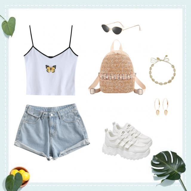 a simple but cute and glamorous outfit for a hot day