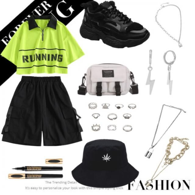 E-girl look is here 🖤💚🖤