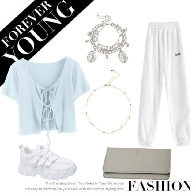 "~These are outfits for teenage girls to wear,~ ""as a white panst, a T-shirt, tennis shoes, a bag, and acce…"