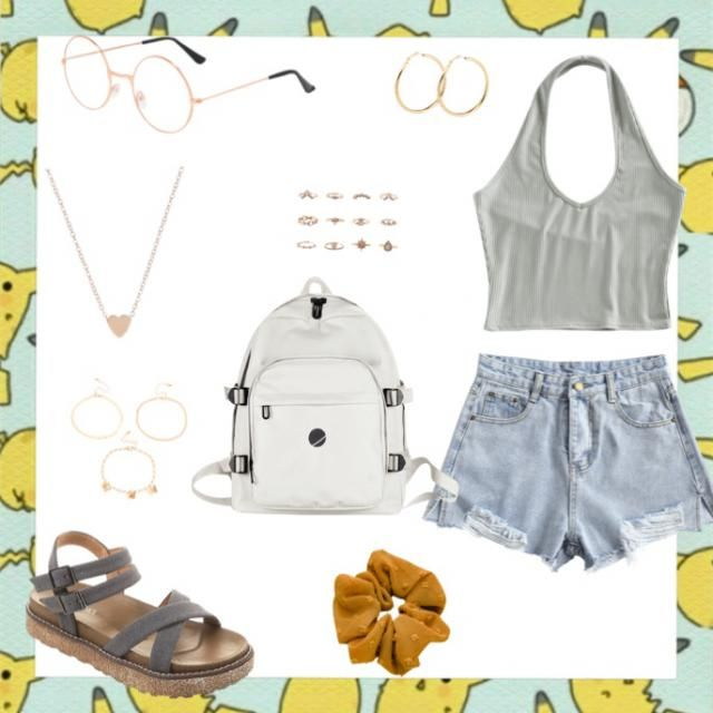 This is a very trendy look with the gold jewelry and this style of shirt. It goes nicely with jean shorts or b…