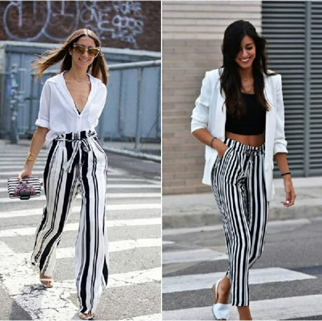 two casual chic styles to wear striped pants