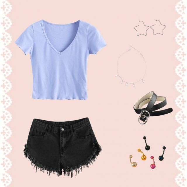recreating pinterest outfits  purple/blue v neck  black jean shorts silver star earing silver star necklace  black and …