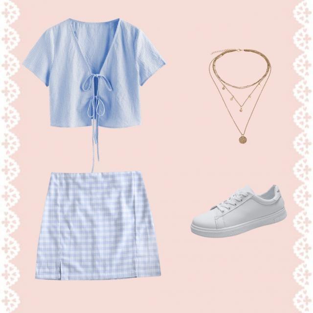 recreating pinterest outfits  blue tie shirt blue plais skirt gold necklace  white shoes