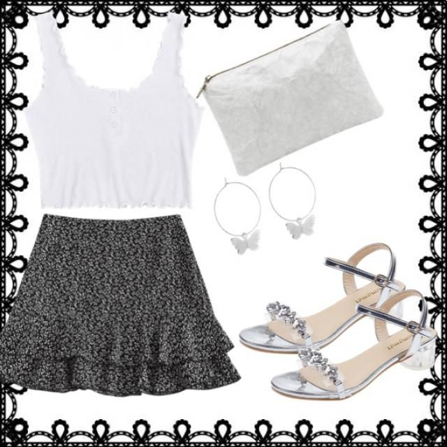 Cute white and black summer outfit.