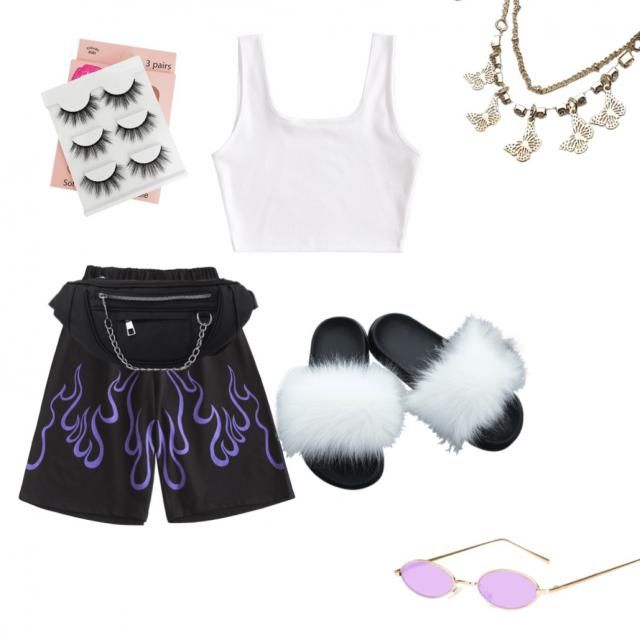 This is a cute baddie look for the summer! I would just add Nike socks or any high socks, pineapple…
