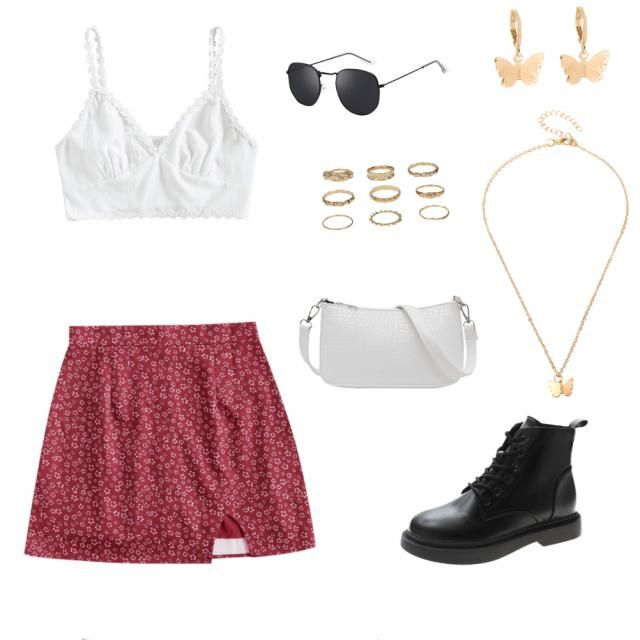 •Girly aesthetic• white crop tank top red and white floral skirt black boots  white purse gold butterfly necklace  gold…